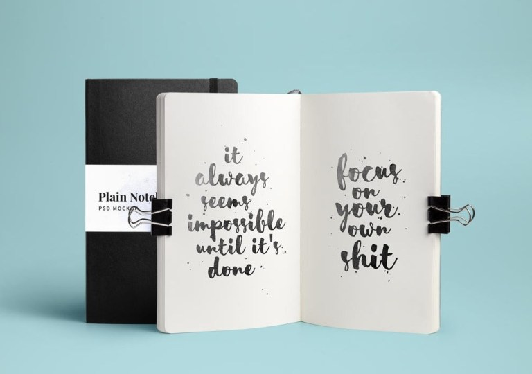 open and closed notebook mockup mockupworld