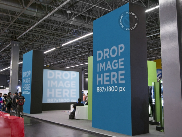 placeit trade show stand mockup featuring vertical banners and screen