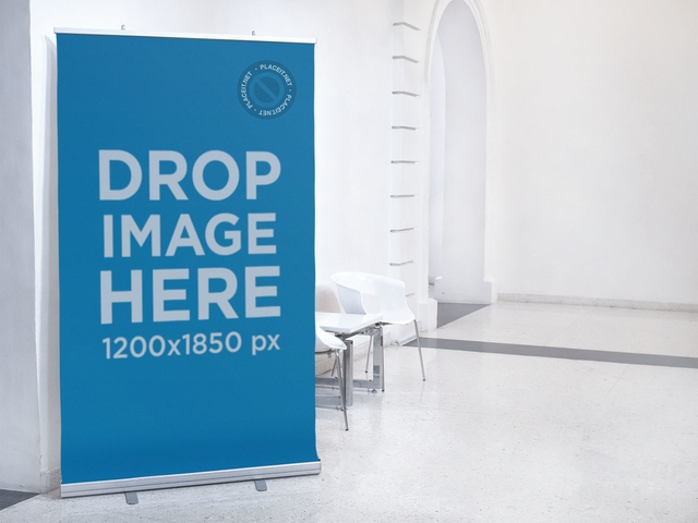 placeit vertical banner mockup at an art museum