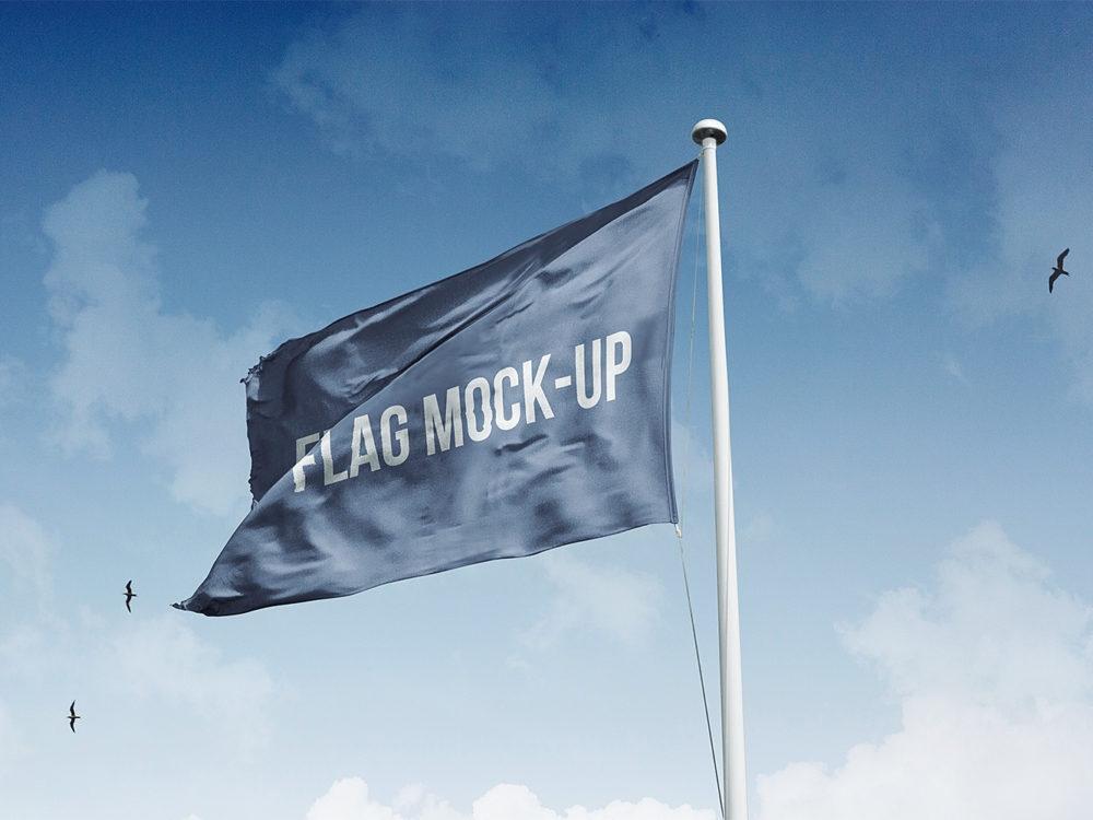 realistic flag mockup free free mockup