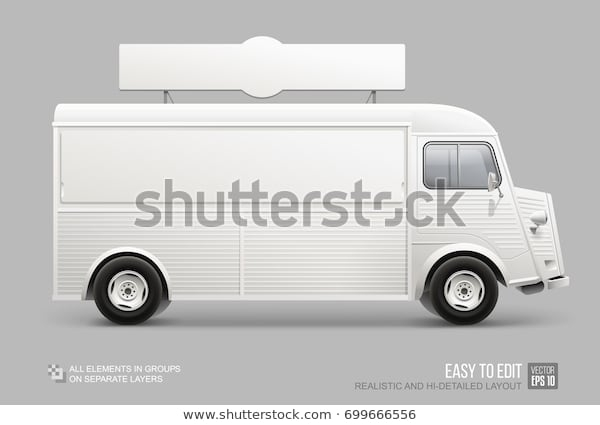 realistic food truck mockup isolated on stock vector royalty free