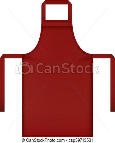 red apron mockup realistic style