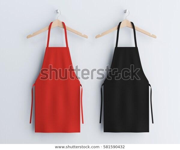 red black aprons apron mockup apron stock illustration 581590432