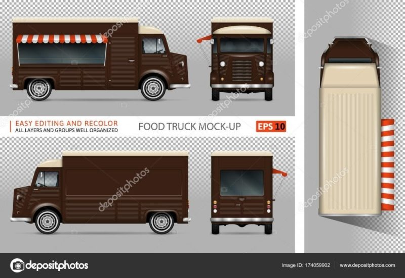 retro food truck vector mockup stock vector imgvector 174059902