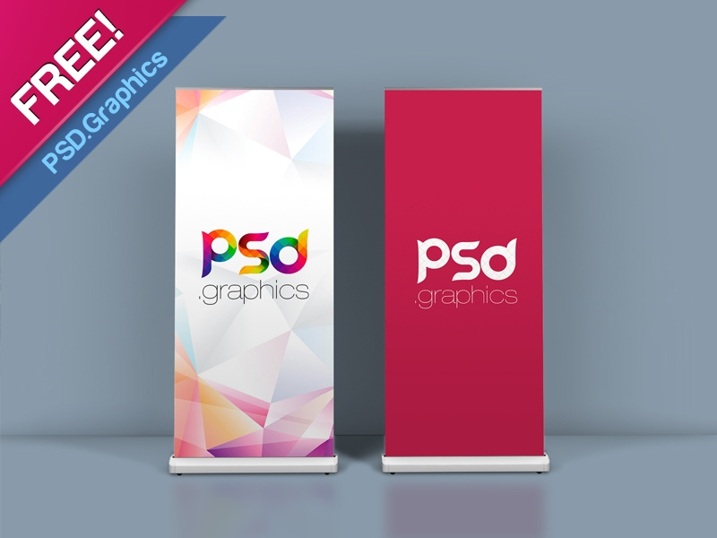 roll up banner mockup template psd graphics on dribbble