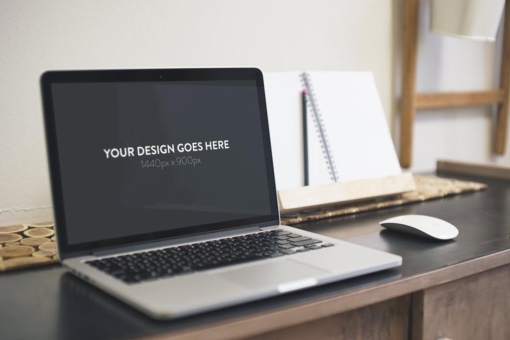 set of macbook on desk mockups mockupworld