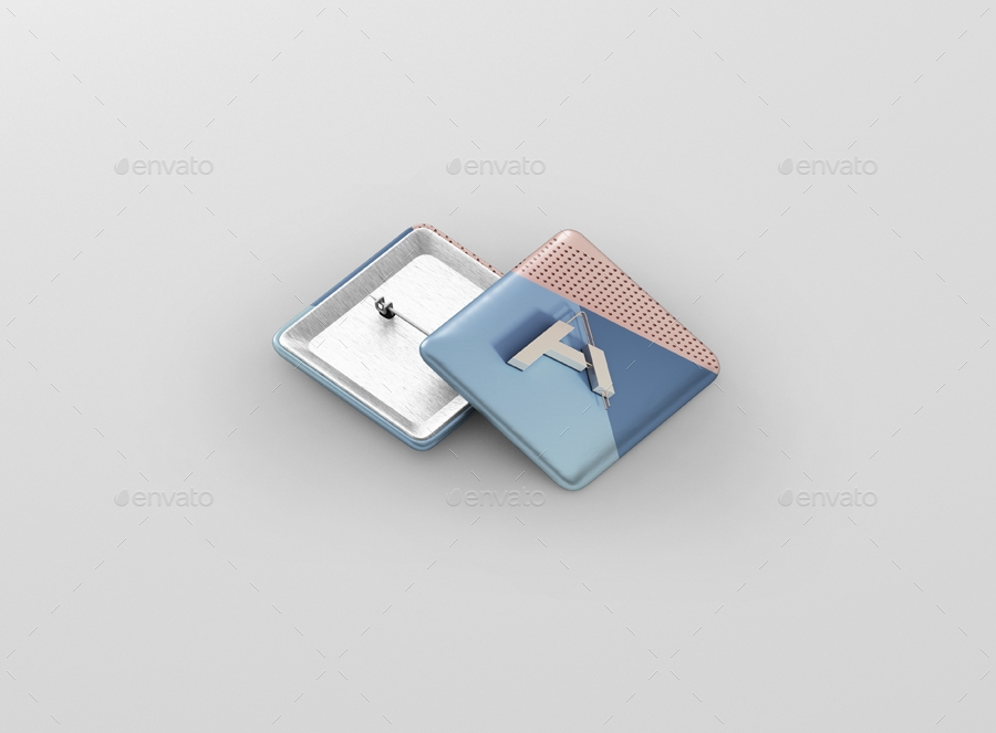 square badge button mockup