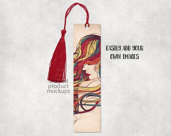 sublimation bookmark with hole for tassel mockup add your own image and background
