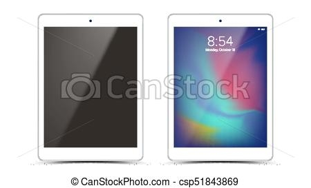 tablet mockup design vector white modern trendy touch screen tablet front view isolated on white background realistic 3d illustration