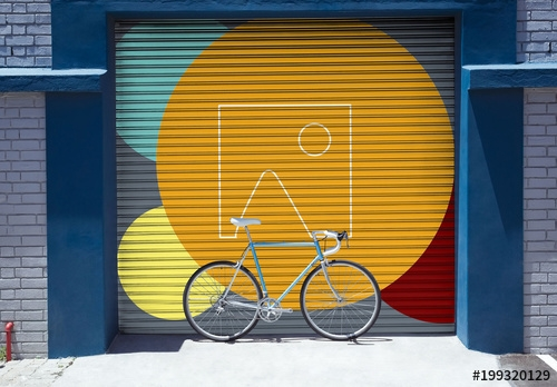 urban mural with bicycle mockup buy this stock template and