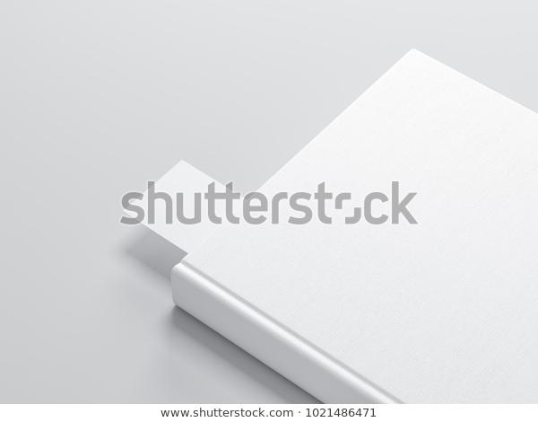 white book bookmark mockup 3d rendering stock illustration