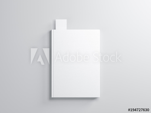 white book with bookmark mockup on gray background buy