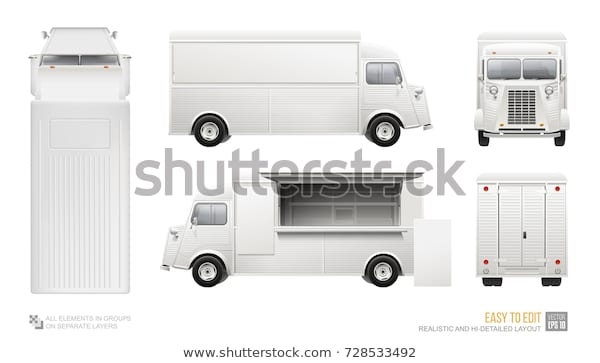 white food truck hidetailed blank vector stock vector royalty free