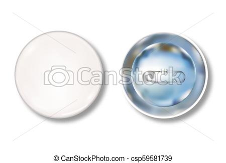 white pin button front and back side