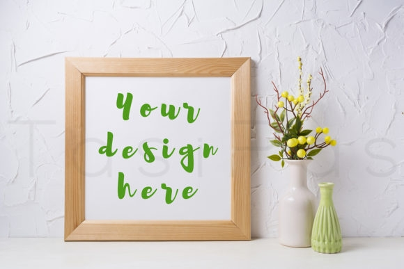 wooden square frame mockup with yellow
