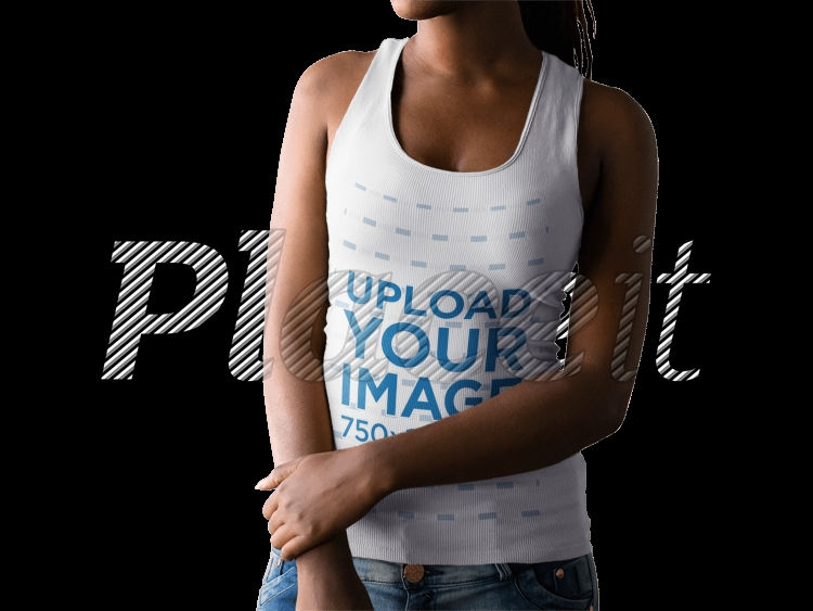 young black woman with cropped face wearing a tank top mockup a15518