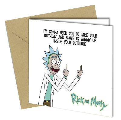 Rick And Morty Birthday Card - candacefaber.com