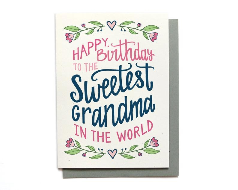 grandma birthday card sweetest grandma in the world grandma card illustrated birthday card