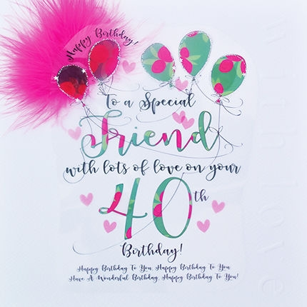 handmade friend 40th birthday card large luxury birthday card