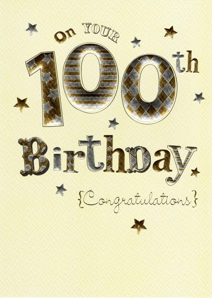 happy 100th birthday foiled greeting card
