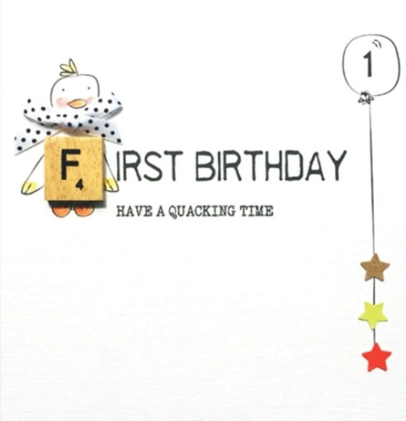 1st first birthday bexyboo scrabbley neon greeting card