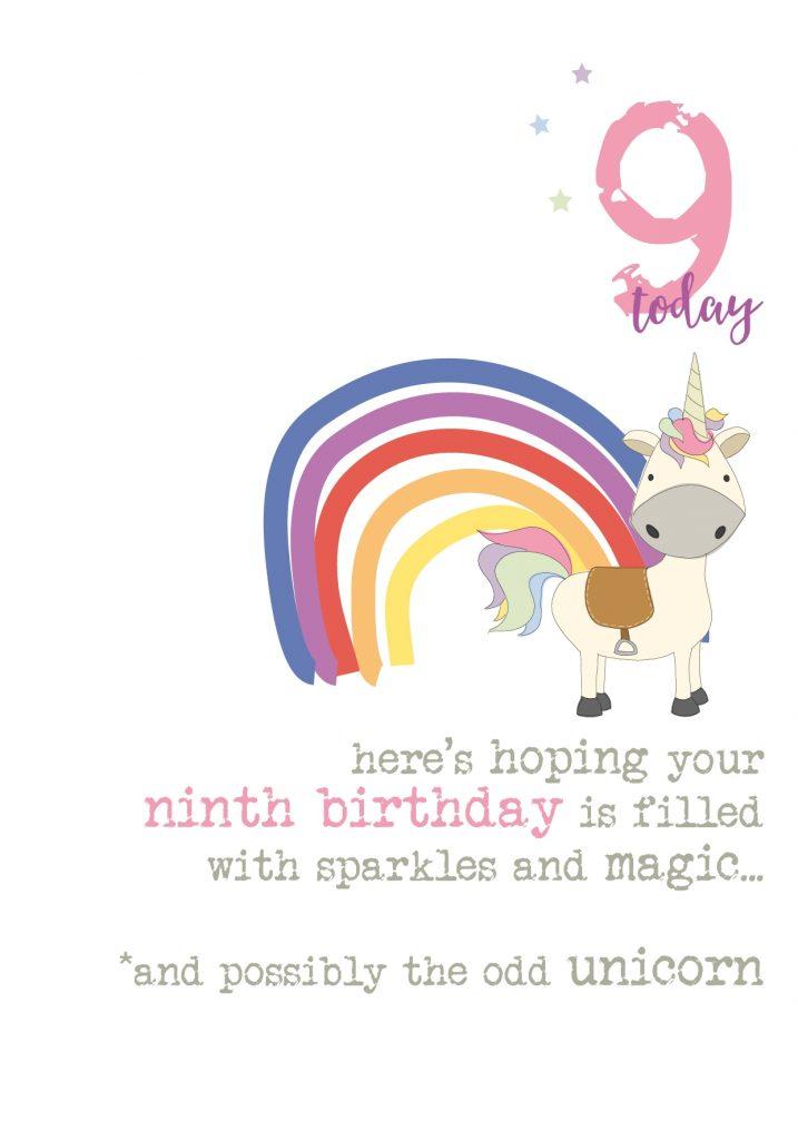 9th birthday unicorn sparkle finished greeting card