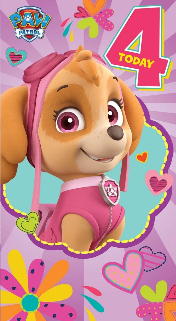 a birthday card from the paw patrol series pink greene