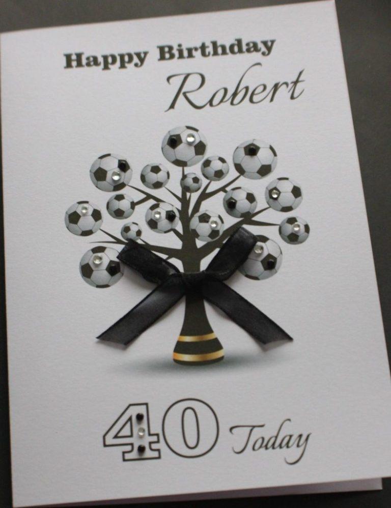 a5 handmade personalised football tree birthday card boyfriend husband brother