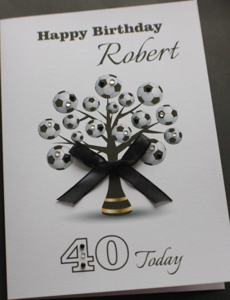 a5 handmade personalised football tree birthday card boyfriend husband brother