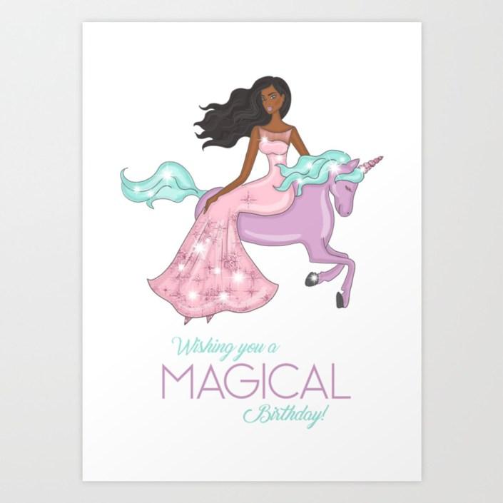 african american girl on a unicorn birthday card art print