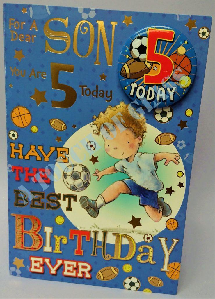 badge birthday card 5 year old son