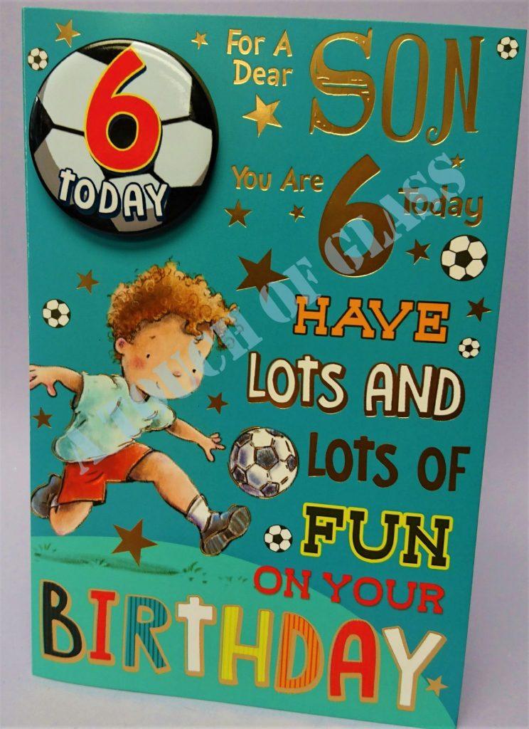badge birthday card 6 year old son