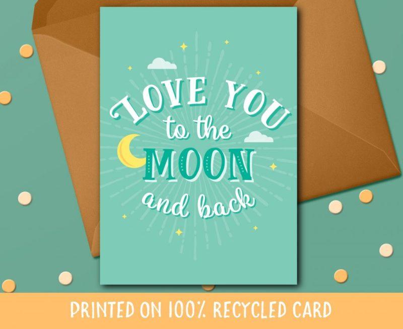 birthday card boyfriend birthday card girlfriend anniversary card love you to the moon card husband birthday wife birthday space card