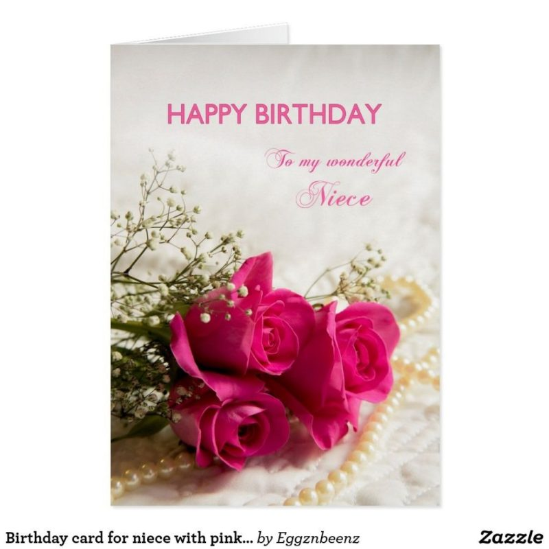 birthday card for niece with pink roses zazzle