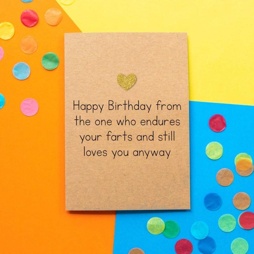 birthday farts funny husband birthday card