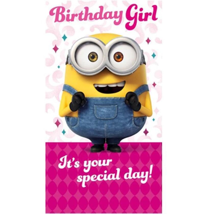 birthday girl minions birthday card