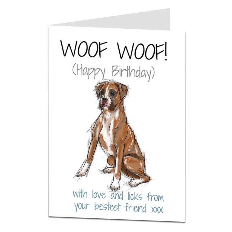 boxer dog birthday card love and licks