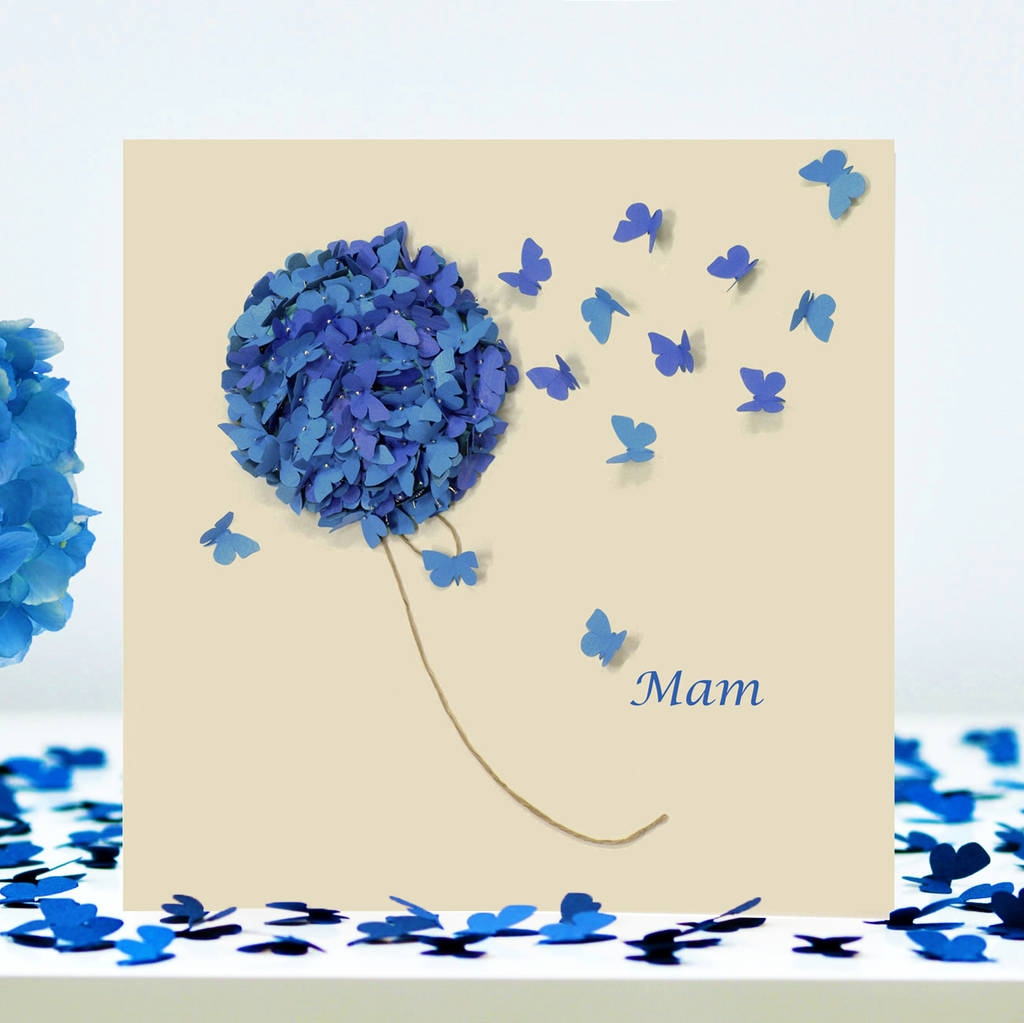 butterfly mom birthday card hydrangea card