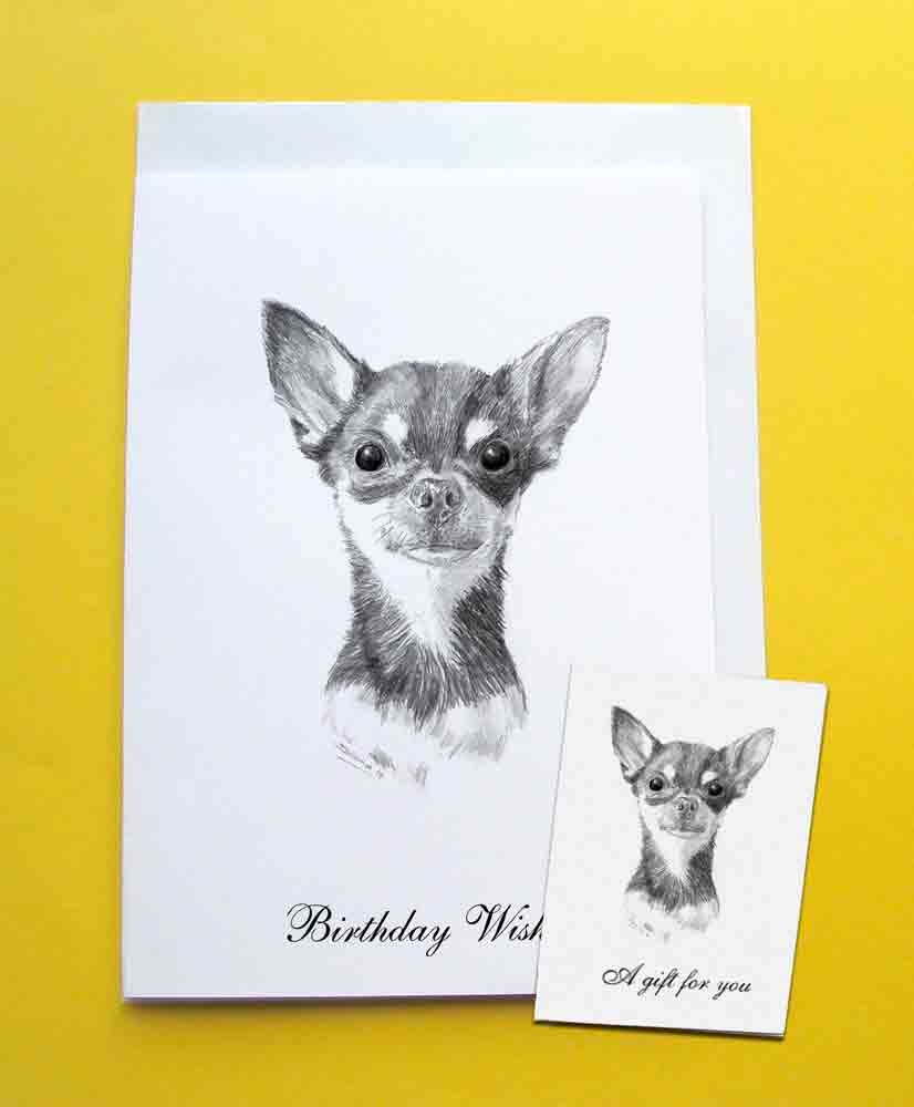 chihuahua smooth coated dog birthday card gift tag