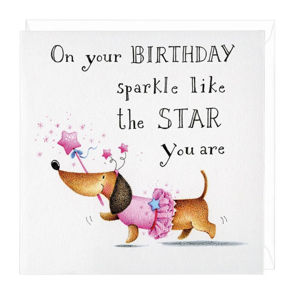 dachshund birthday sparkle greeting card happy birthday