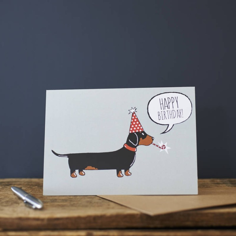 dachshund sausage dog birthday card