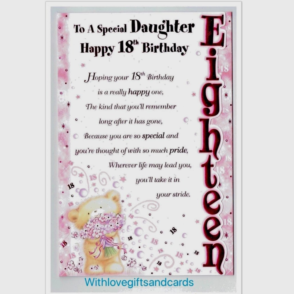 daughter 18th birthday card embossed with lovely sentiment verse