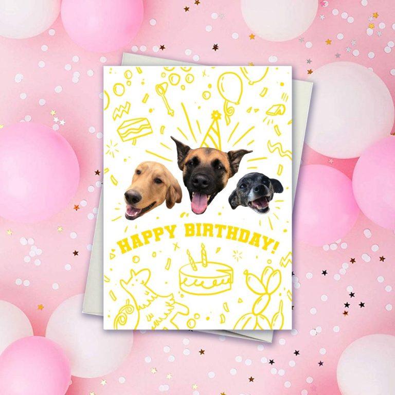 dog birthday card cute birthday card illustrated card fun dog card