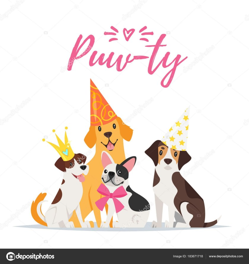 dog birthday party greeting card stock vector