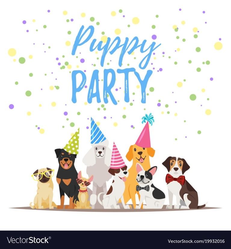 dog birthday party greeting card