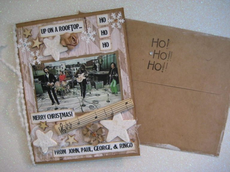 fab four rooftop christmas card up on a rooftop rooftop concert holiday card