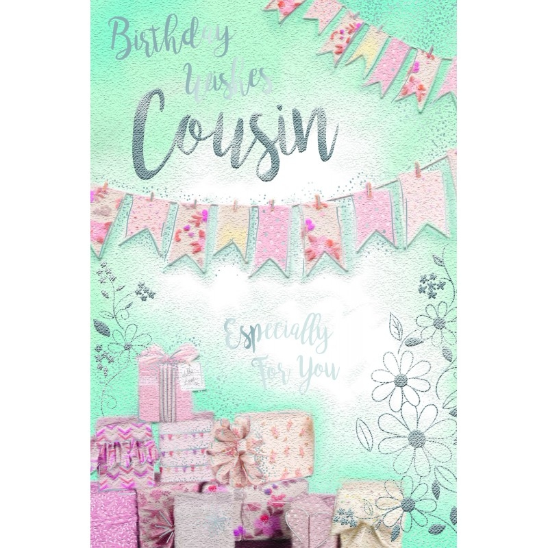 female cousin presents bunting design happy birthday card lovely verse special days cards