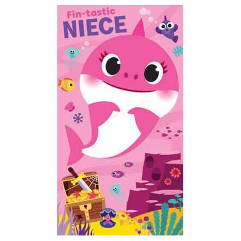 fin tastic niece ba shark birthday card