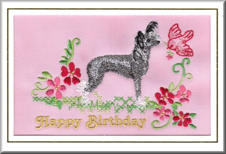 hairless chinese crested dog birthday card embroidered dogmania 8 x 6 g2495