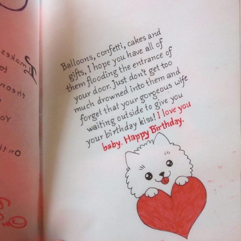 handicraft cards handwritten and handmade husbands birthday card